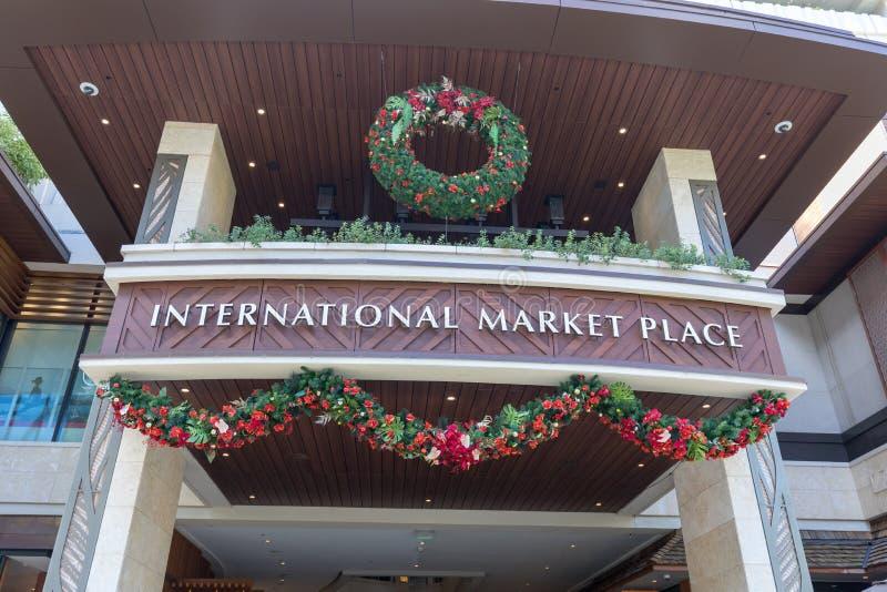 Centre commercial international de Market Place à l'avenue de Kalakaua, Honolulu photographie stock