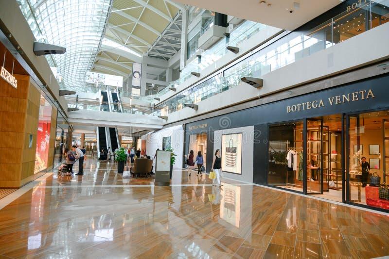 Centre commercial ?les magasins en Marina Bay Sands Complex, Singapour image libre de droits
