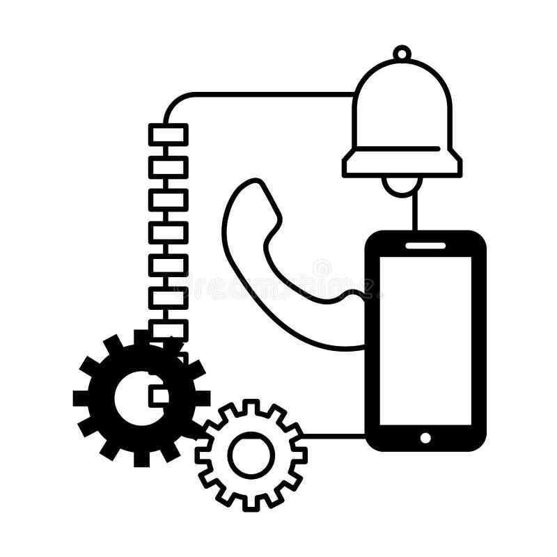 Centre d'appels de cloche de smartphone d'adresse de livre illustration de vecteur