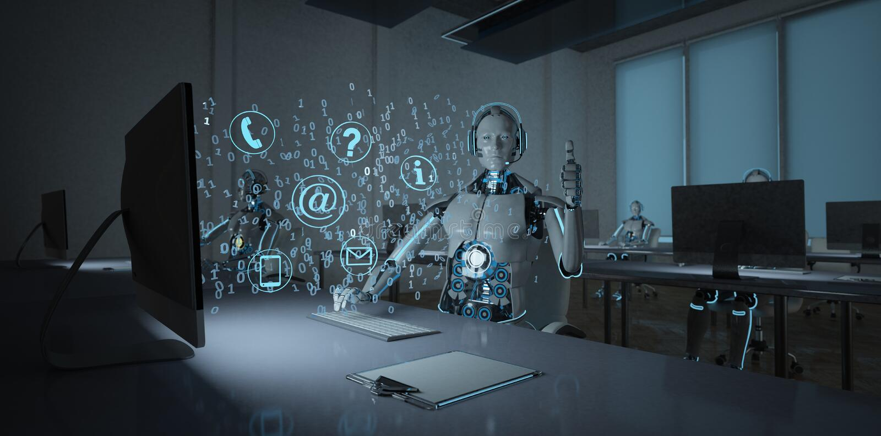 Centre d'appels de robot de humanoïde correct illustration de vecteur