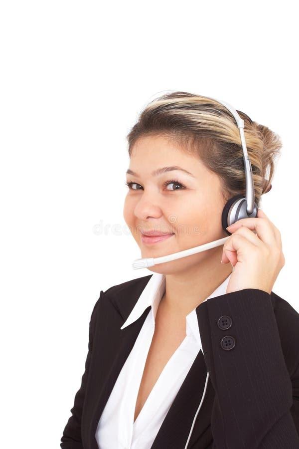 Centre d'attention téléphonique heureux image libre de droits