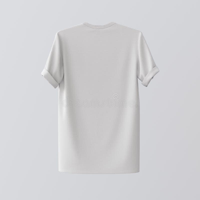 Centre d'isolement par T-shirt blanc vide Gray Empty Background de textile Matériaux fortement détaillés de texture de maquette L photos libres de droits