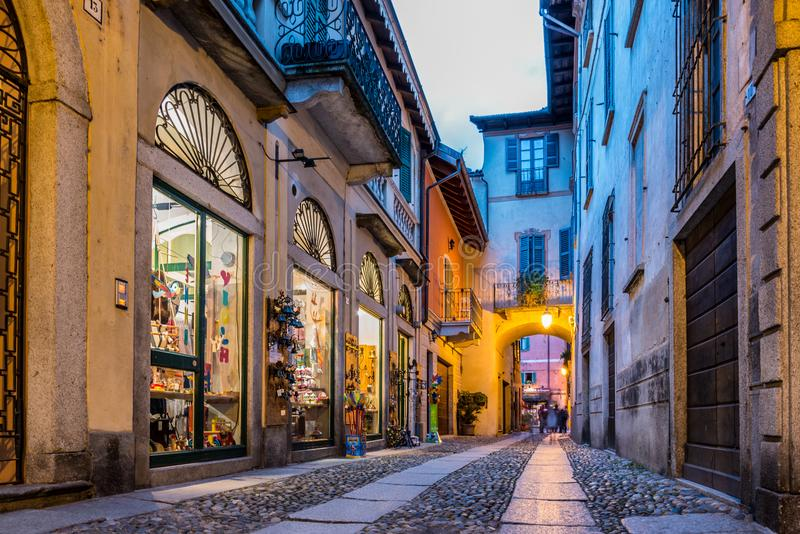 Centre d'Orta San Giulio, Italie image stock