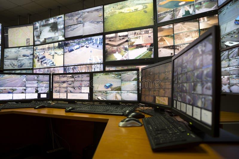 Centre de contrôle de surveillance de ville photo stock