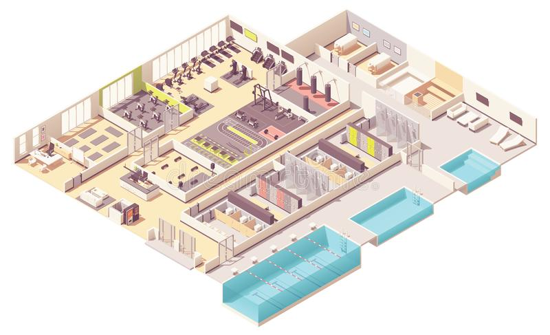 Centre de fitness isométrique de vecteur avec la piscine illustration de vecteur