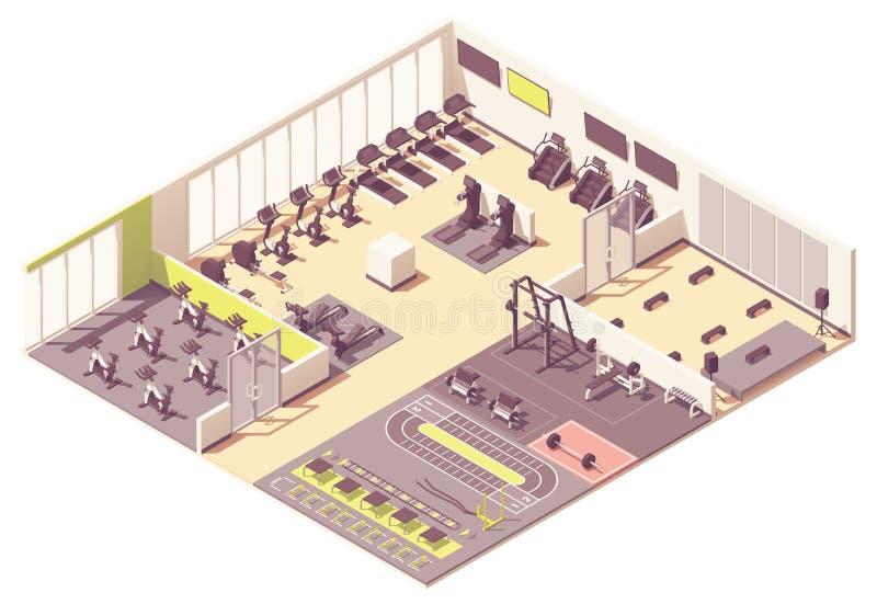 Centre de fitness de vecteur ou int?rieur isom?trique de gymnase illustration libre de droits
