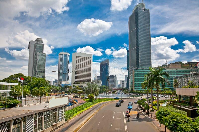 Centre de Jalan Bundaran HI de Jakarta, Indonésie. image stock