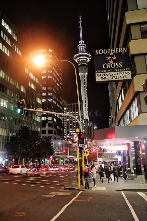 Centre de la ville d'Auckland la nuit, Nouvelle-Zélande, 12 En août 2010 photographie stock libre de droits