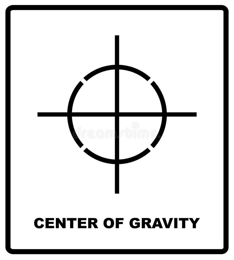 CENTRE DE le symbole d'emballage de GRAVITÉ sur une boîte en carton ondulé Pour l'usage sur des boîtes, des paquets et des colis  illustration libre de droits