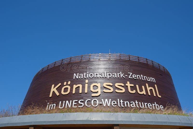Centre de parc national de Königsstuhl en parc national i de Jasmund photos libres de droits