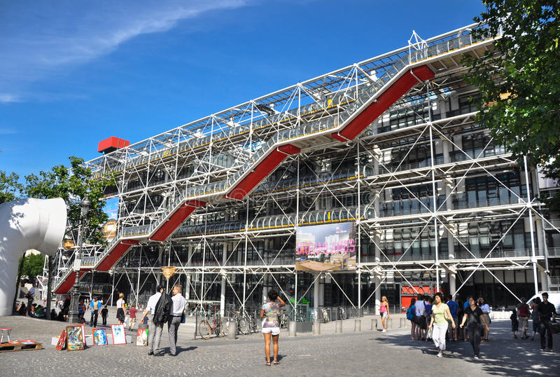 Centre de Pompidou. Paris, France - July 17, 2010:The cultural center and museum, Centre de Pompidou in Paris, France. The place is notable for its unusual stock image