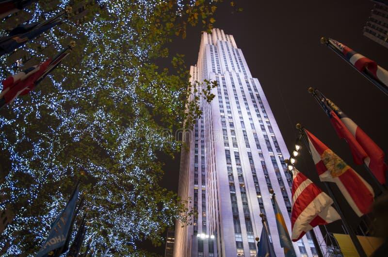 Centre de Rockefeller décoré pendant le temps de Noël à New York images stock