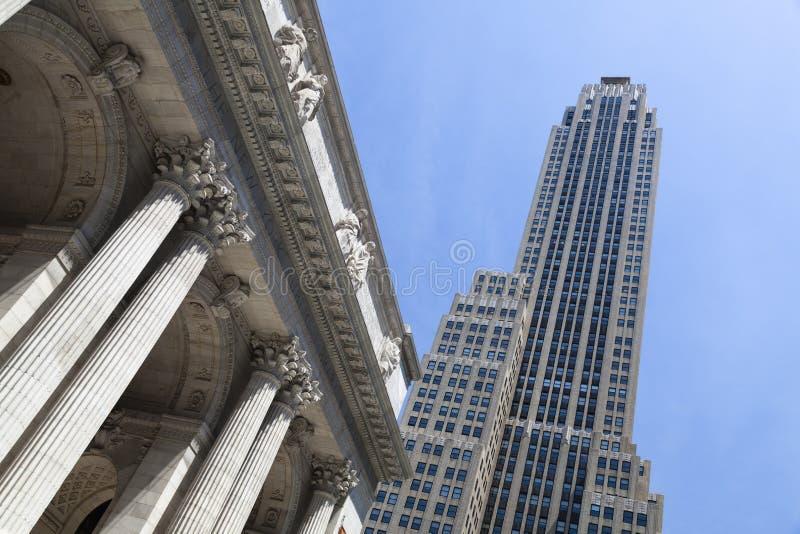 Centre de Rockefeller et bibliothèque publique, New York images libres de droits