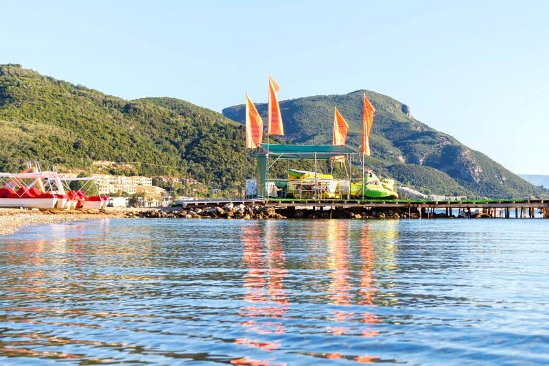 Centre de sports aquatiques sur l'île de Corfou photographie stock libre de droits