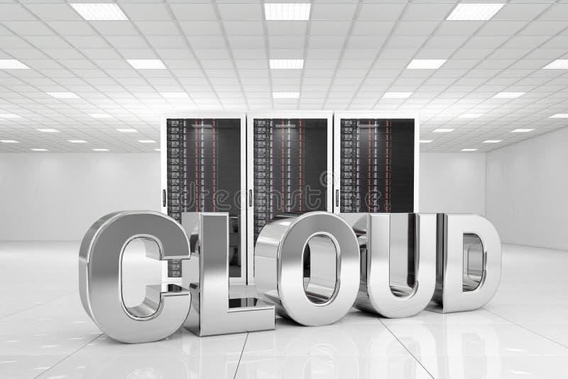 Centre de traitement des données avec le nuage de chrome illustration de vecteur