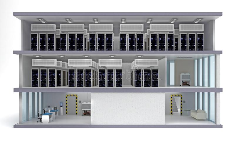 Centre de traitement des données de bâtiment avec des planchers dans la section illustration de vecteur