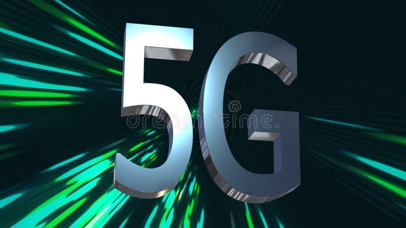 centre de traitement des données de connectivité de 5G LTE, serveur, Internet, vitesse, animation du fond 3D de technologie numér illustration de vecteur
