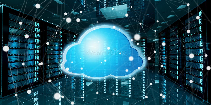 Centre de traitement des données de pièce de serveur avec le rendu bleu de l'icône 3D de nuage illustration de vecteur