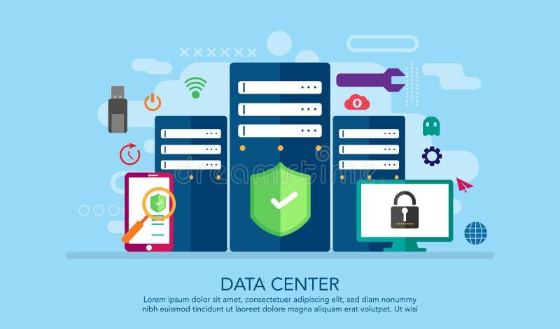 Centre de traitement des données, web server, service, connexion internet, serveurs de nuage avec des icônes de sécurité plates A illustration stock