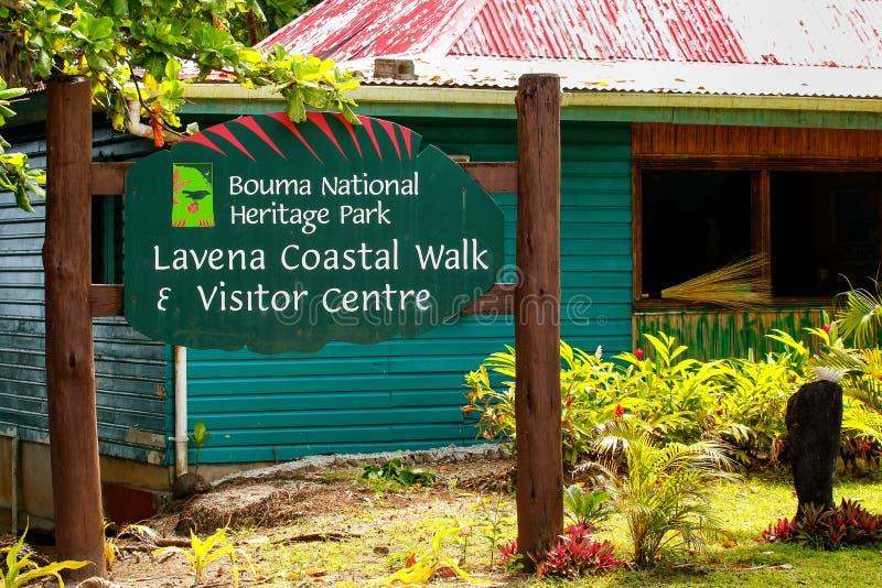Centre de visiteur de parc du patrimoine national de Bouma dans le village de Lavena dessus photos libres de droits