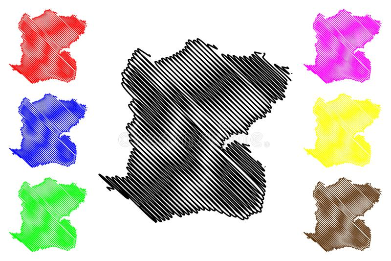 Centre department Republic of Haiti, Hayti, Hispaniola, Departments of Haiti map vector illustration, scribble sketch Centre map vector illustration