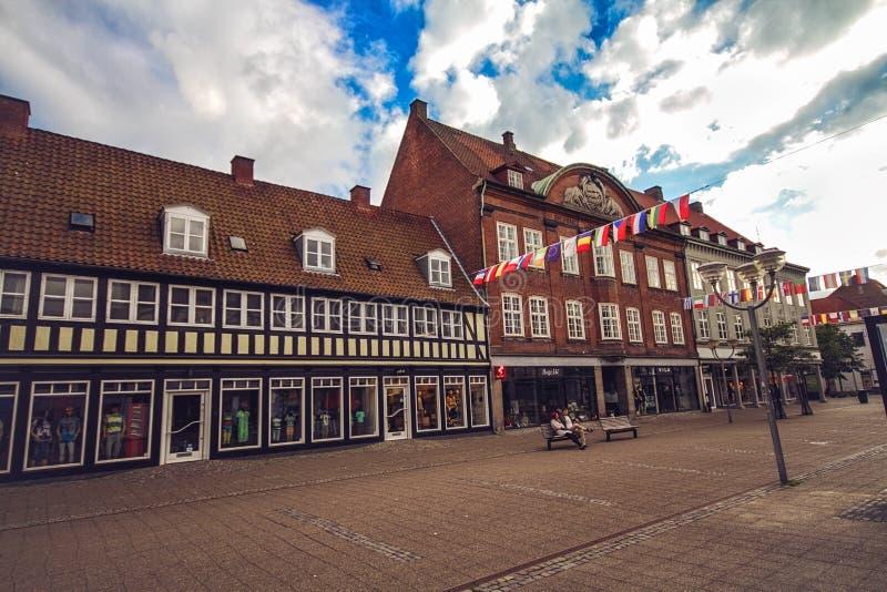 Centre of Horsens, Denmark. HORSENS, DENMARK - JUNE 11: Typical old city houses in the centre of Horsens, Denmark in 2012 stock photography