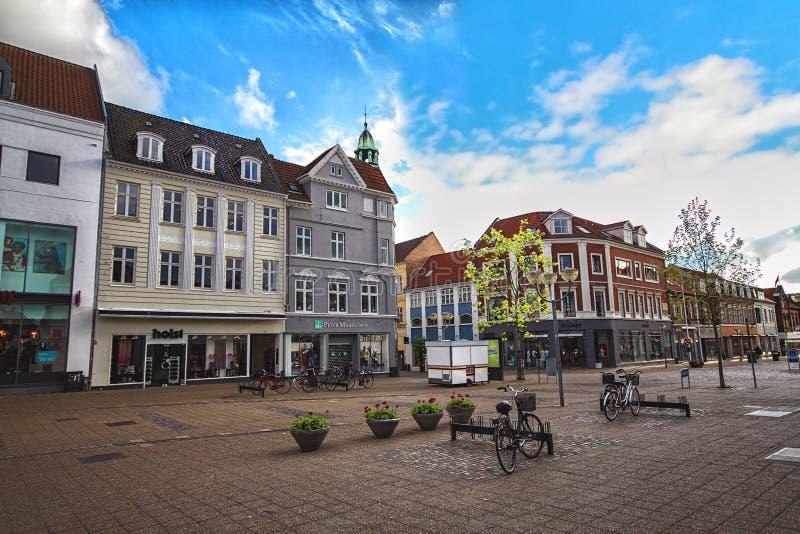 Centre of Horsens, Denmark. HORSENS, DENMARK - JUNE 11: Typical old city houses in the centre of Horsens, Denmark in 2012 royalty free stock image