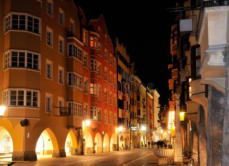 centre Innsbruck noc zdjęcie stock