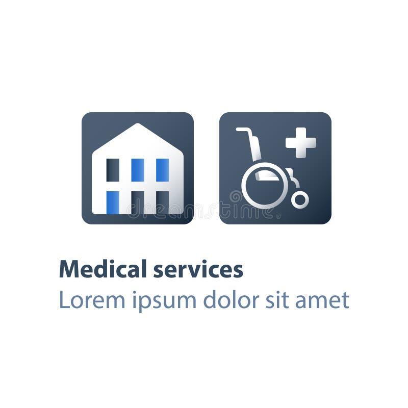 Centre médical, bâtiment d'hôpital, signe de fauteuil roulant, soins de santé, assistance handicapé, services soignants handicapé illustration stock