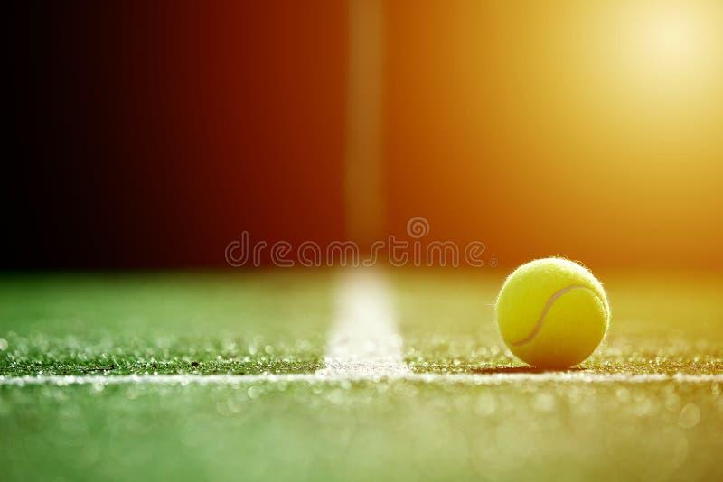 Centre mou de balle de tennis sur la cour d'herbe de tennis avec la lumière du soleil photographie stock libre de droits