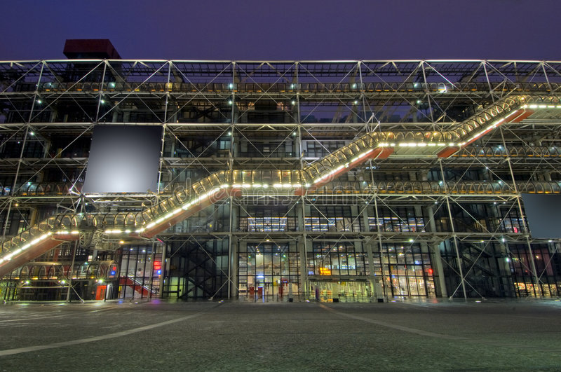 Centre Pompidou. The steel structure of the Centre Pompidou at night royalty free stock photo
