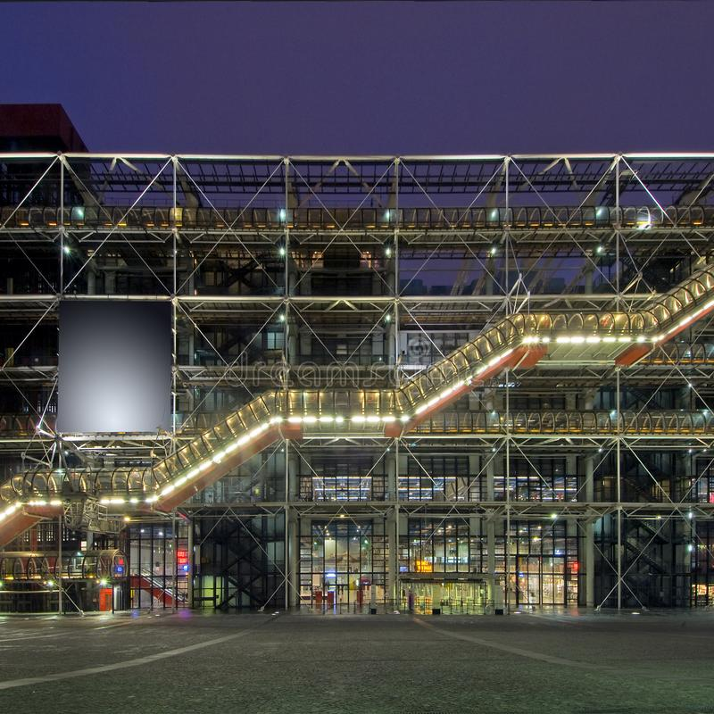 Centre Pompidou. The steel structure of the Centre Pompidou at night royalty free stock image