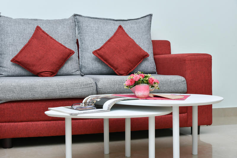 Modern Red And Grey Sofa In Living Room Interior Stock Photo