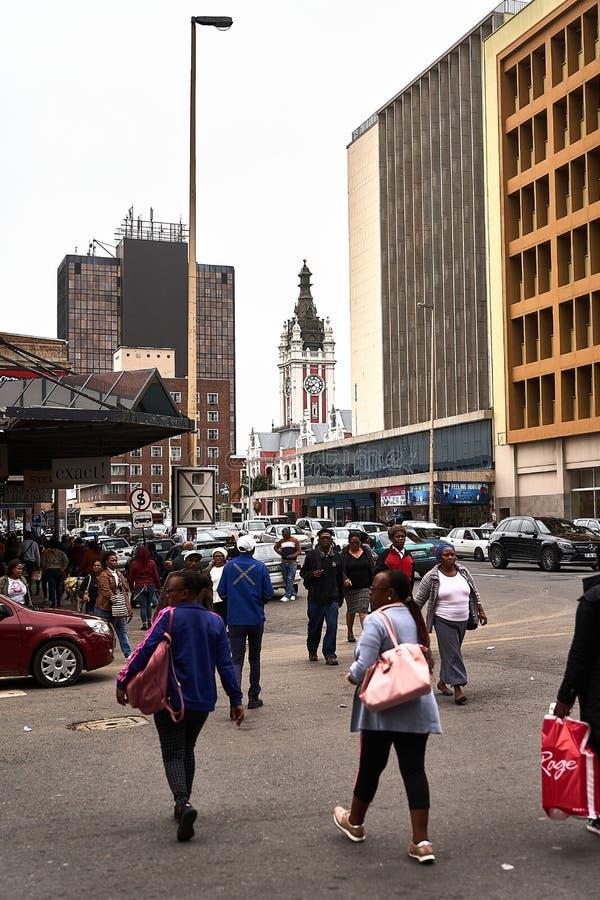 Centre-ville bondé d'East London, Afrique du Sud photo stock