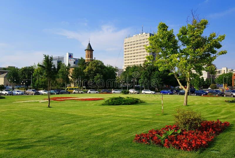 Centre-ville de l'espace vert Iasi Roumanie en été photographie stock