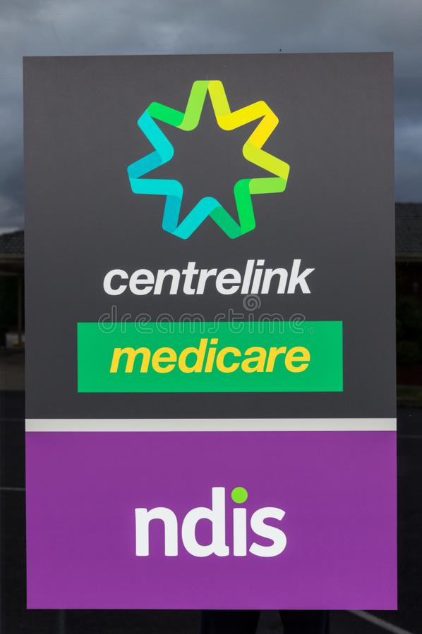 Centrelink、医疗保障和NDIS办公室在阿勒山在澳大利亚 免版税库存图片