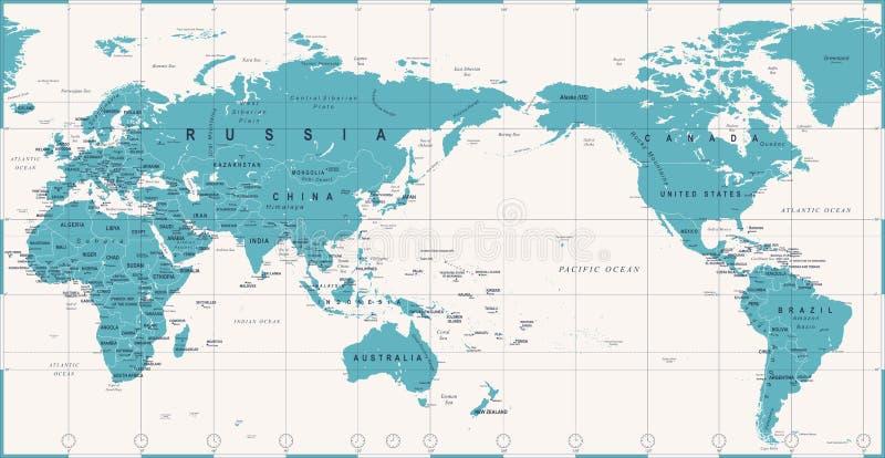 Centrerat Stillahavs- för världskarta för tappning politiskt royaltyfri illustrationer