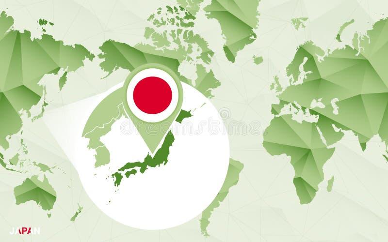 Centric de wereldkaart van Amerika met de overdreven kaart van Japan royalty-vrije illustratie