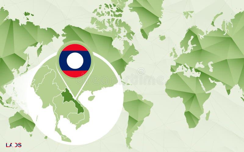 Centric de wereldkaart van Amerika met de overdreven kaart van Laos stock illustratie