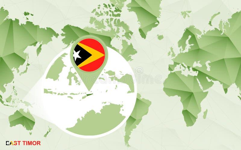 Centric de wereldkaart van Amerika met de overdreven kaart Oost- van Timor stock illustratie
