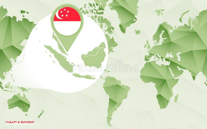 Centric de wereldkaart van Amerika met de overdreven kaart van Singapore vector illustratie