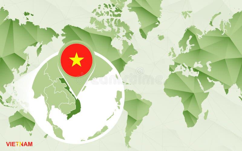 Centric de wereldkaart van Amerika met de overdreven kaart van Vietnam vector illustratie