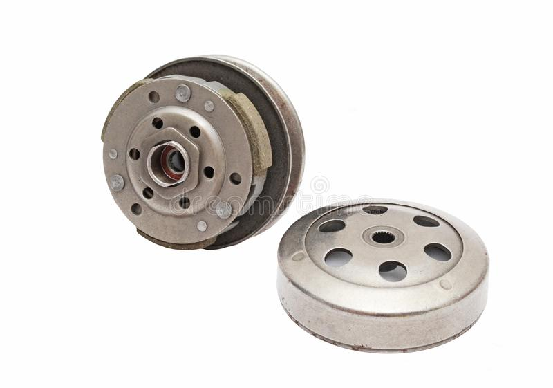 Variomatic centrifugal transmission clutch and bell. Centrifugal clutch for engines that can be found on scooters, motorcycles, ATV and others royalty free stock photo