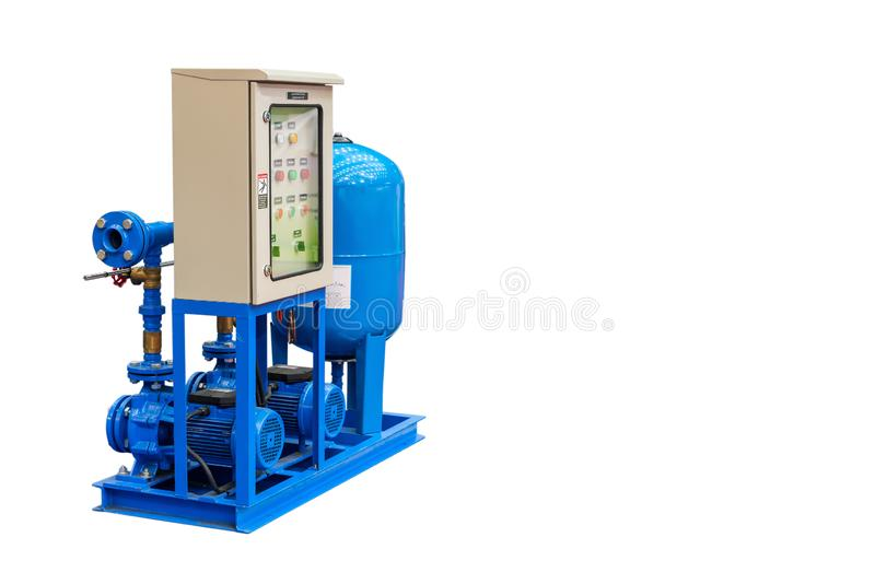 Centrifugal pump include motor and electric control panel tank with piping isolated on white background with clipping path.  royalty free stock photos