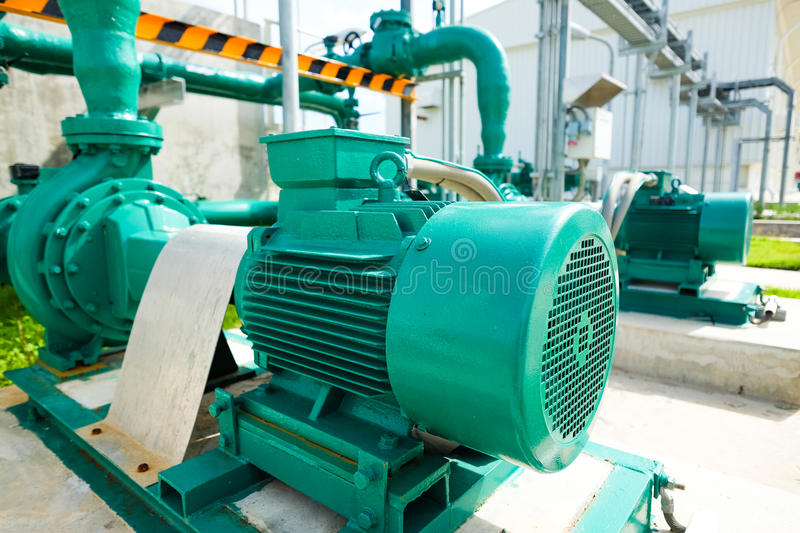 Centrifugal pump and motor. In power plant royalty free stock photography