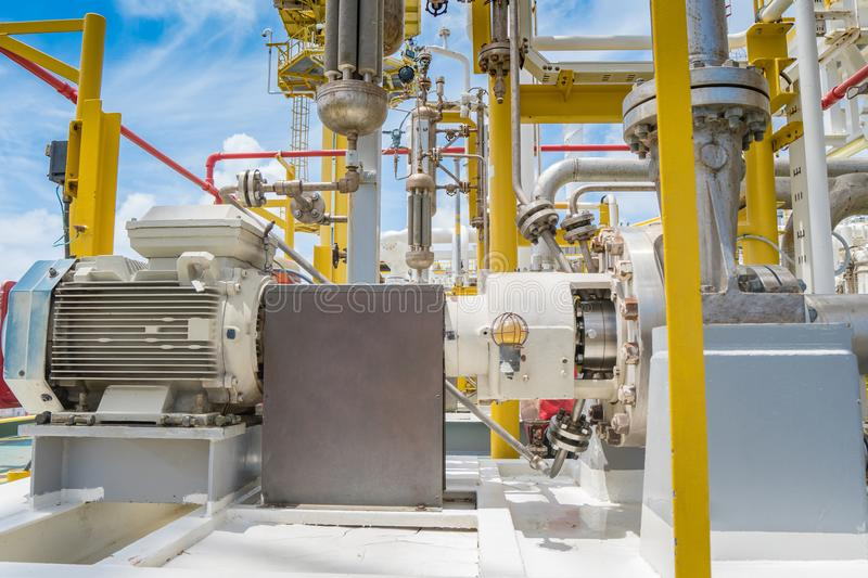 Centrifugal pump in oil and gas processing platform used for transfer liquid condensate in oil and gas central processing platform.  stock images