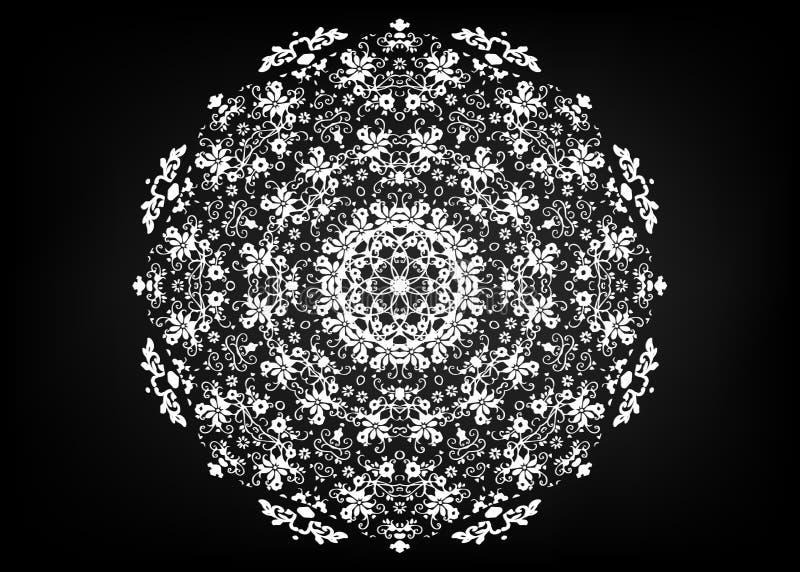 Centrino di carta del pizzo Mandala di taglio del laser Ornamento orientale della siluetta Ornamento circolare Grata rotonda Mode illustrazione di stock