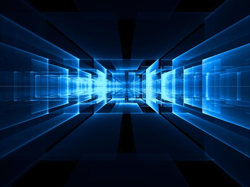 Centro abstracto del portal o de la fecha - imagen digital generada stock de ilustración