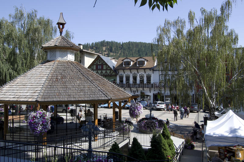Centro città Leavenworth fotografie stock