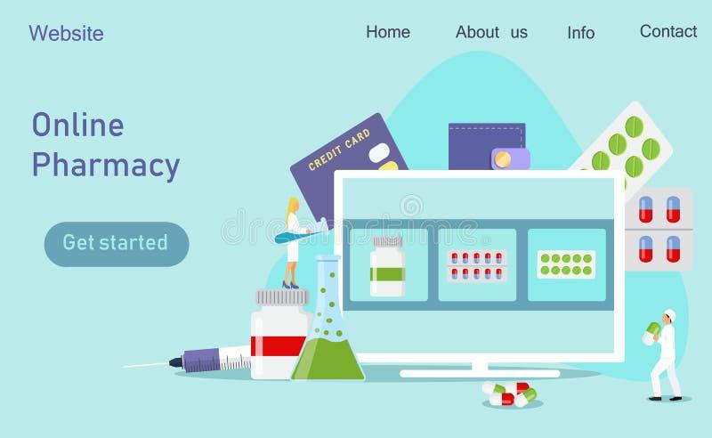 Centro clínico, farmácia em linha ilustração stock
